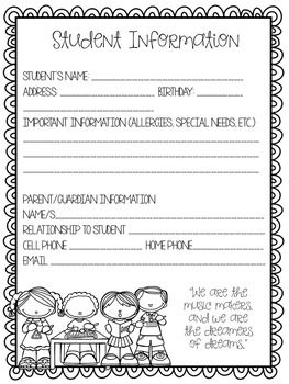 contact information sheets