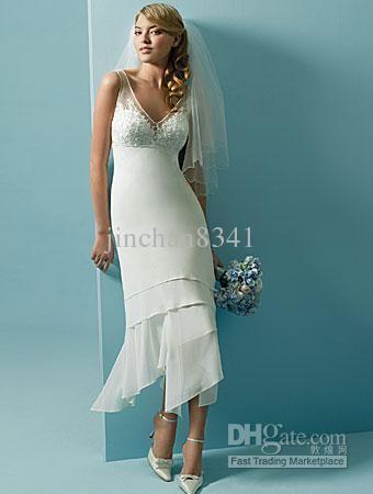 white Slim Short Beach Wedding Dress Bridal Gown | Short beach ...