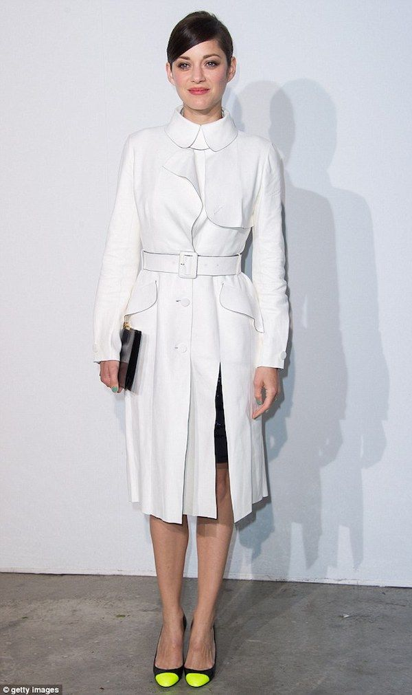Marion Cotillard in #White #Coat with Peter Pan #Collar | Fall ...