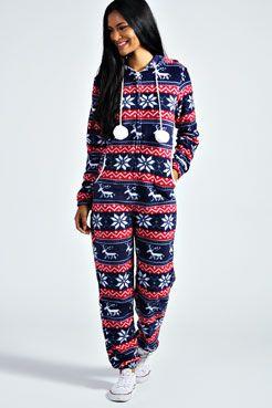Faith Hooded Pom Pom Onesie At Boohoo Com Christmas Onesie Clothes Pajama Outfits
