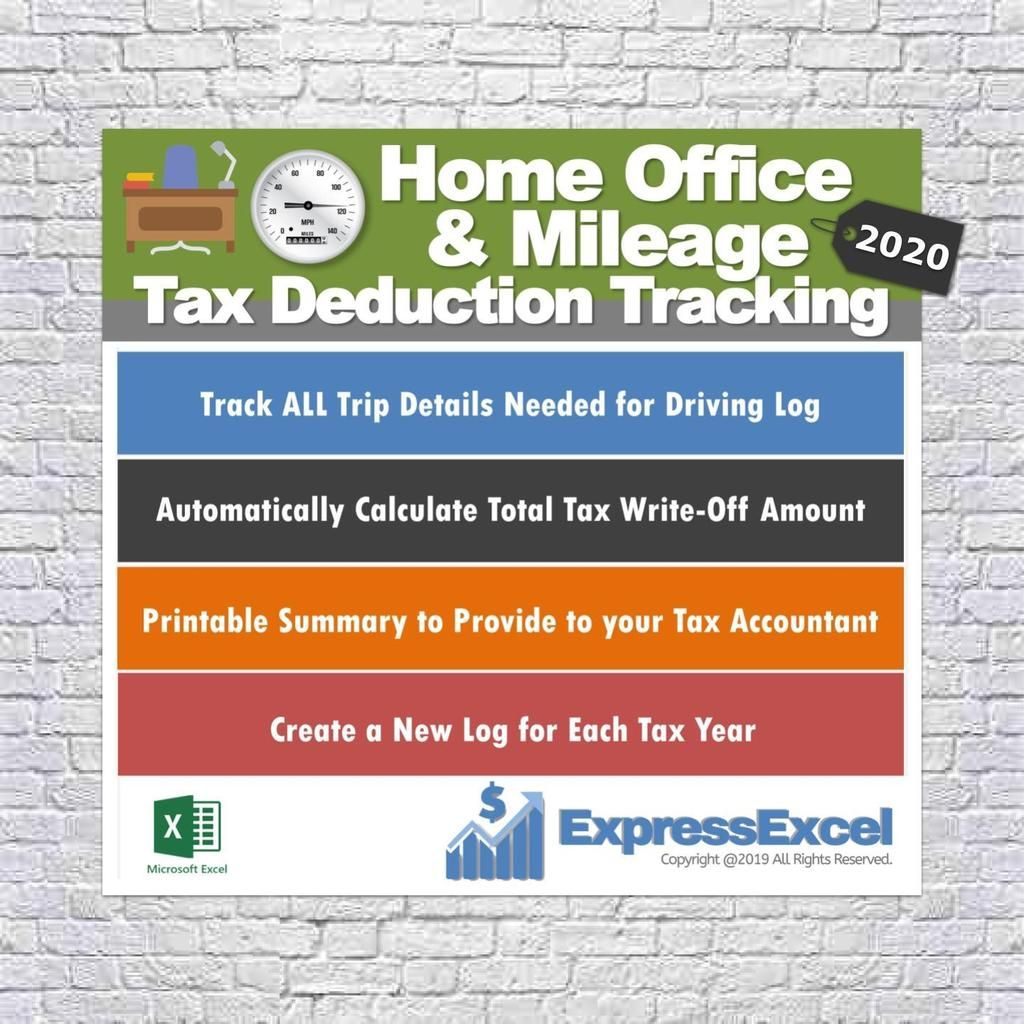 Home Office Tax Deductions & Mileage Tracking Log 2020