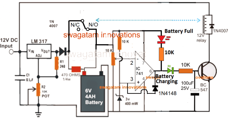 5 Best 6v 4ah Automatic Battery Charger Circuits Using Relay And