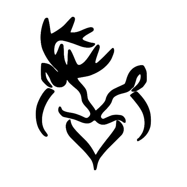 Download Deer Love Doe And Buck Heart Vinyl Decal | Heart decals ...