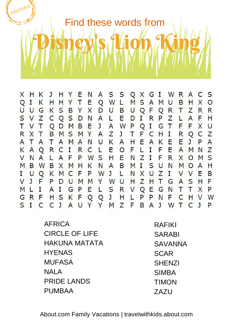 14 Free Printable Disney Word Searches, Mazes, and Games