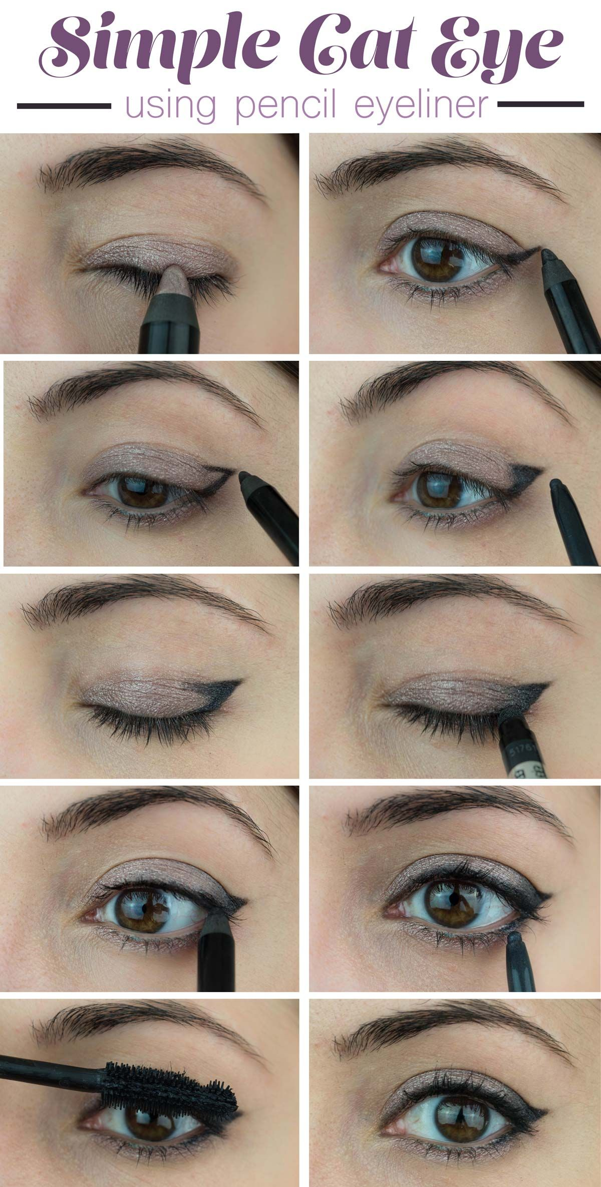 How To Create a Simple Cat Eye Look Using Pencil Eyeliner