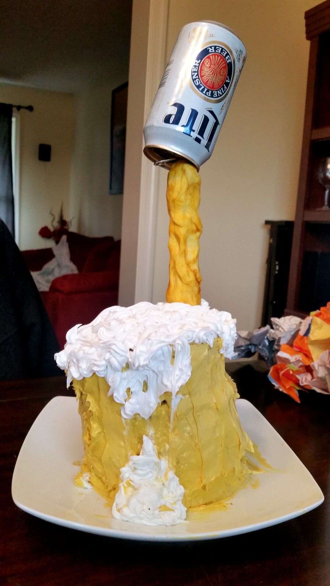 Made a beer pouring into a mug birthday cake for my husbands