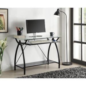 Osp Home Furnishings Newport Black Desk Nwp25 Bk The Home Depot Glass Computer Desks Desk With Keyboard Tray Glass Top Desk