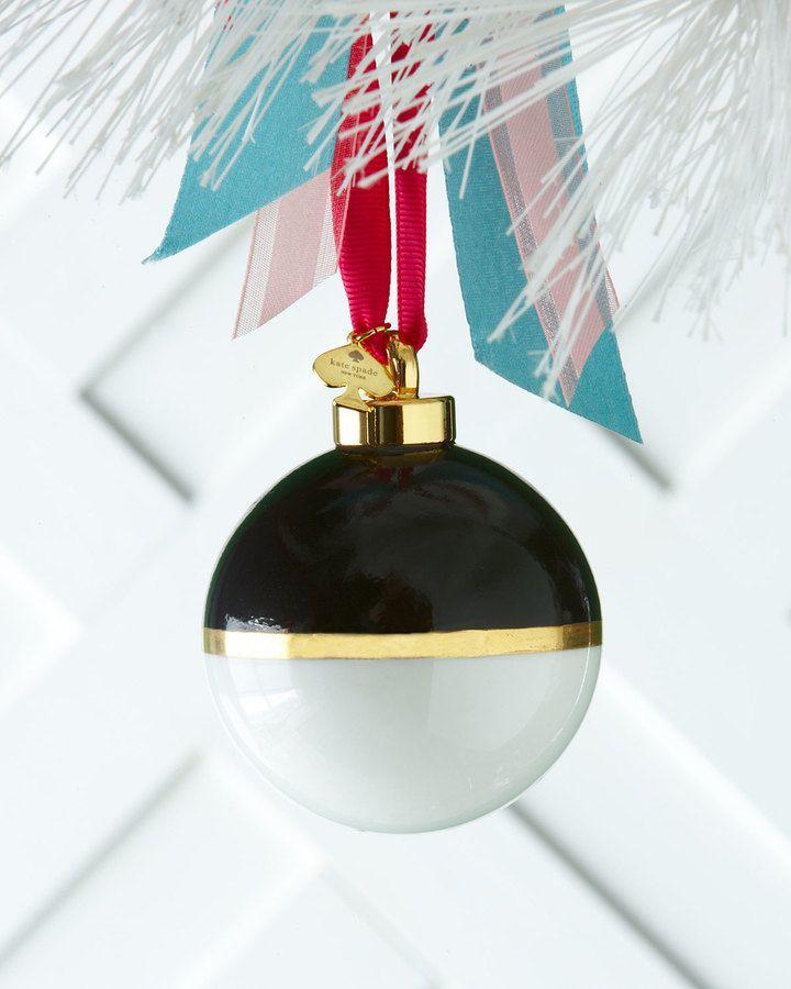 kate spade new york Black & White Colorblock Christmas Ornament ...