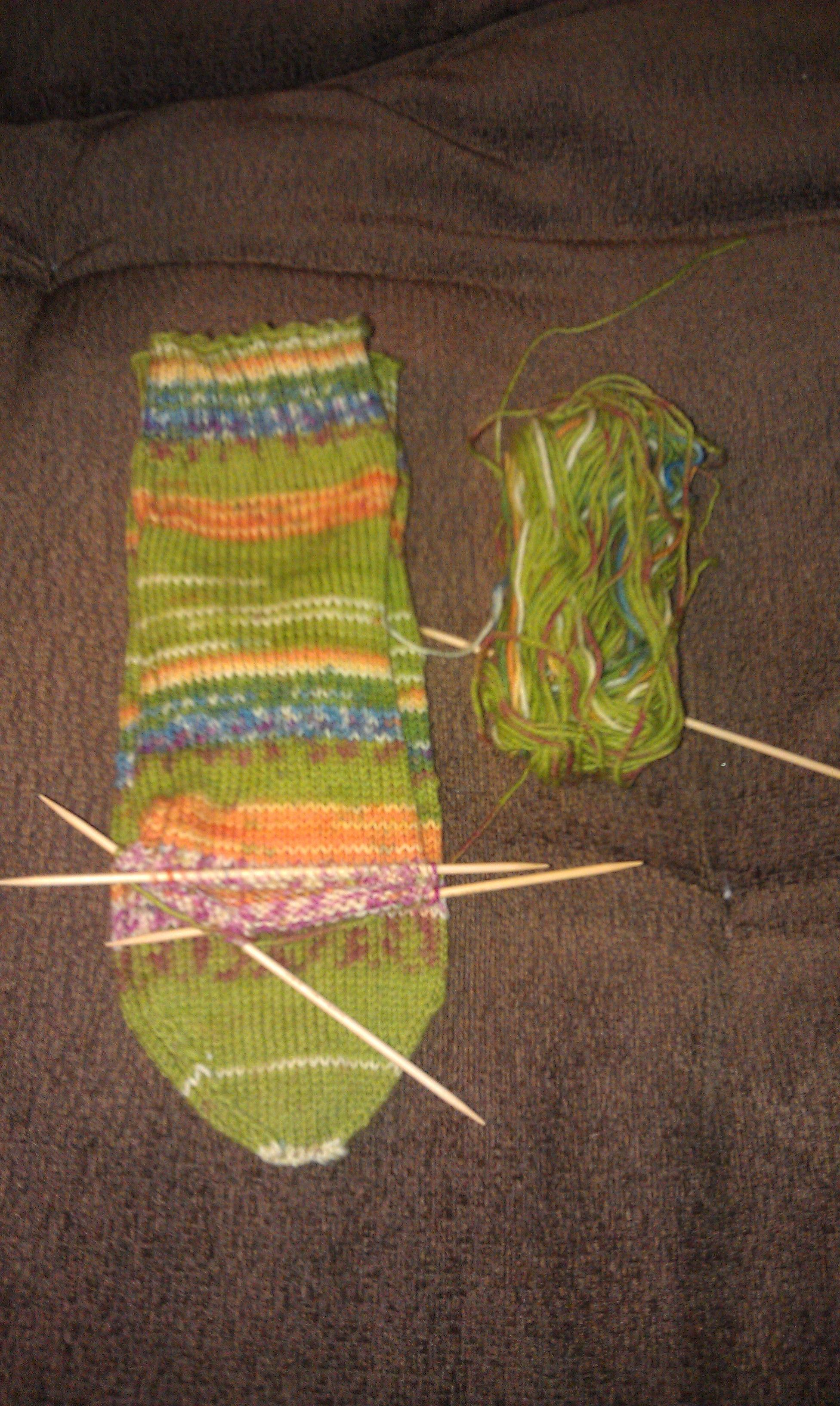 Yankee Knitter Socks for the family pattern, Red Heart Heart and Sole yarn. Some size disparity on the second sock - my gauge is off. Too late, going to finish it anyway.