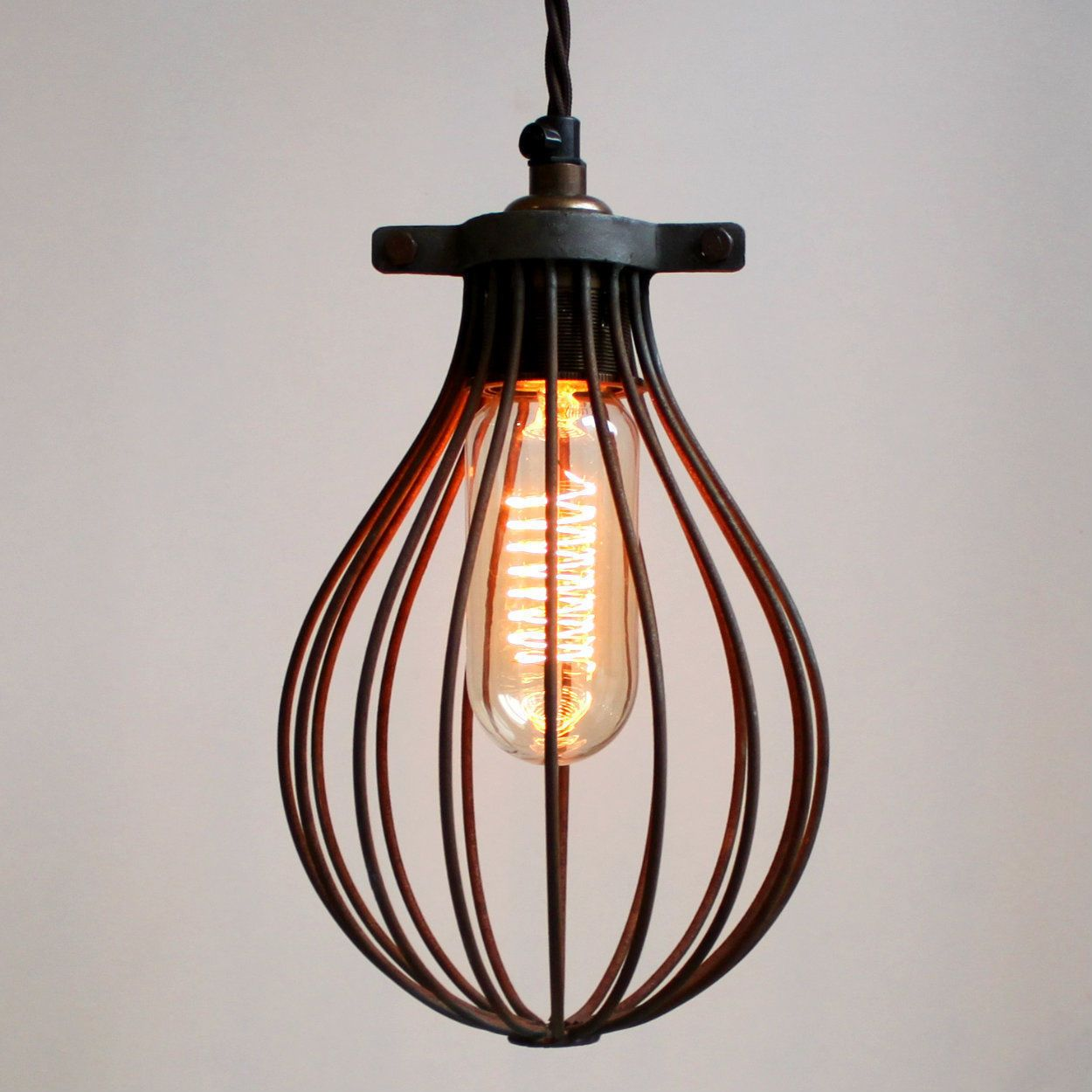 Rust Effect Balloon Cage For A Industrial Vintage Style Pendant Light Or Lamp Industrial Pendant Lights Cage Pendant Light Pendant Light