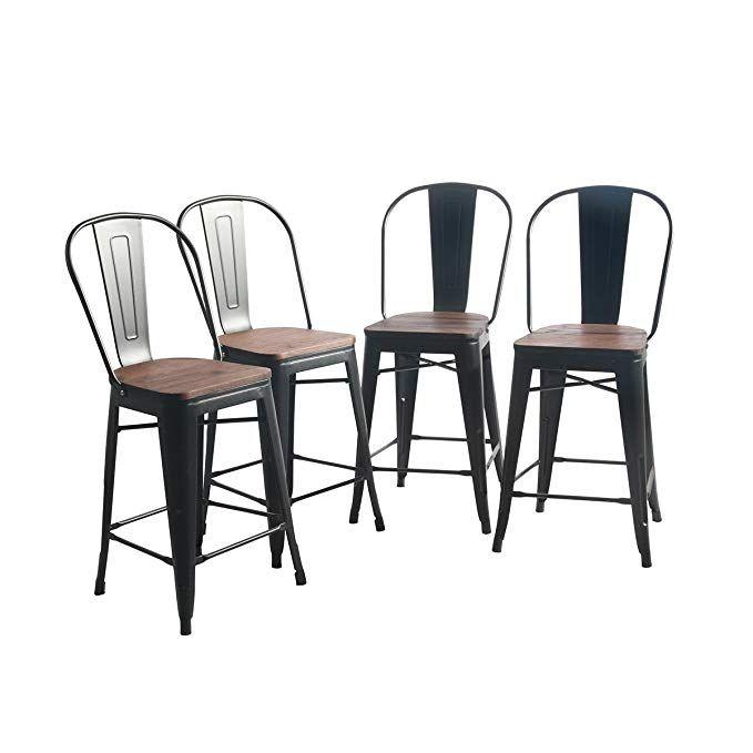 Strange Yongqiang Metal Barstools Set Of 4 Indoor Outdoor Bar Stools Machost Co Dining Chair Design Ideas Machostcouk