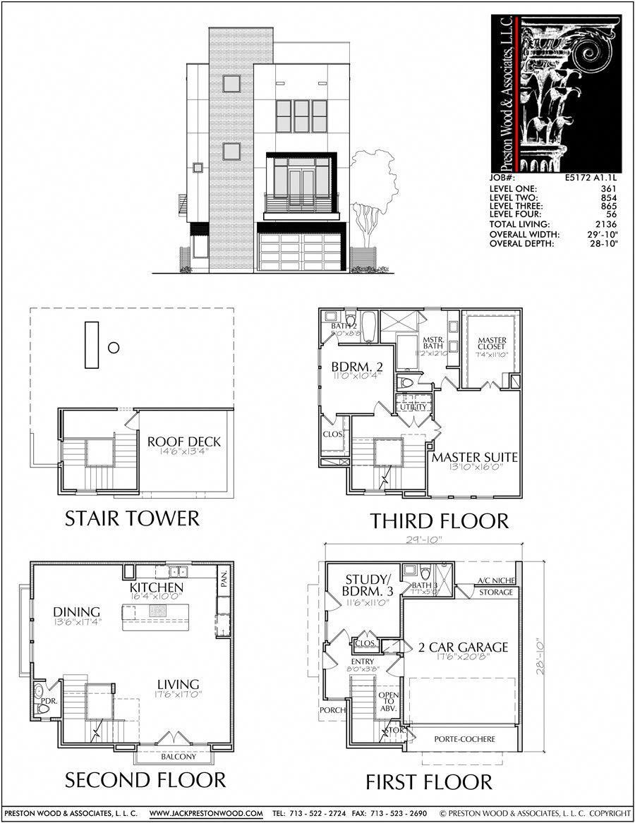 3 Story Townhome Plans Inner City Modern Townhouse Design Nashville Tn Preston Wood Associates Arc Townhouse Designs Modern Townhouse Town House Plans