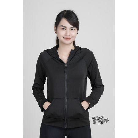 https://www.i-sabuy.com/ Lady Exercise Jacket แจ็คแก็ต เสื้อคลุม ออกกำลังกาย ผ้านุ่มลืน สีดำ
