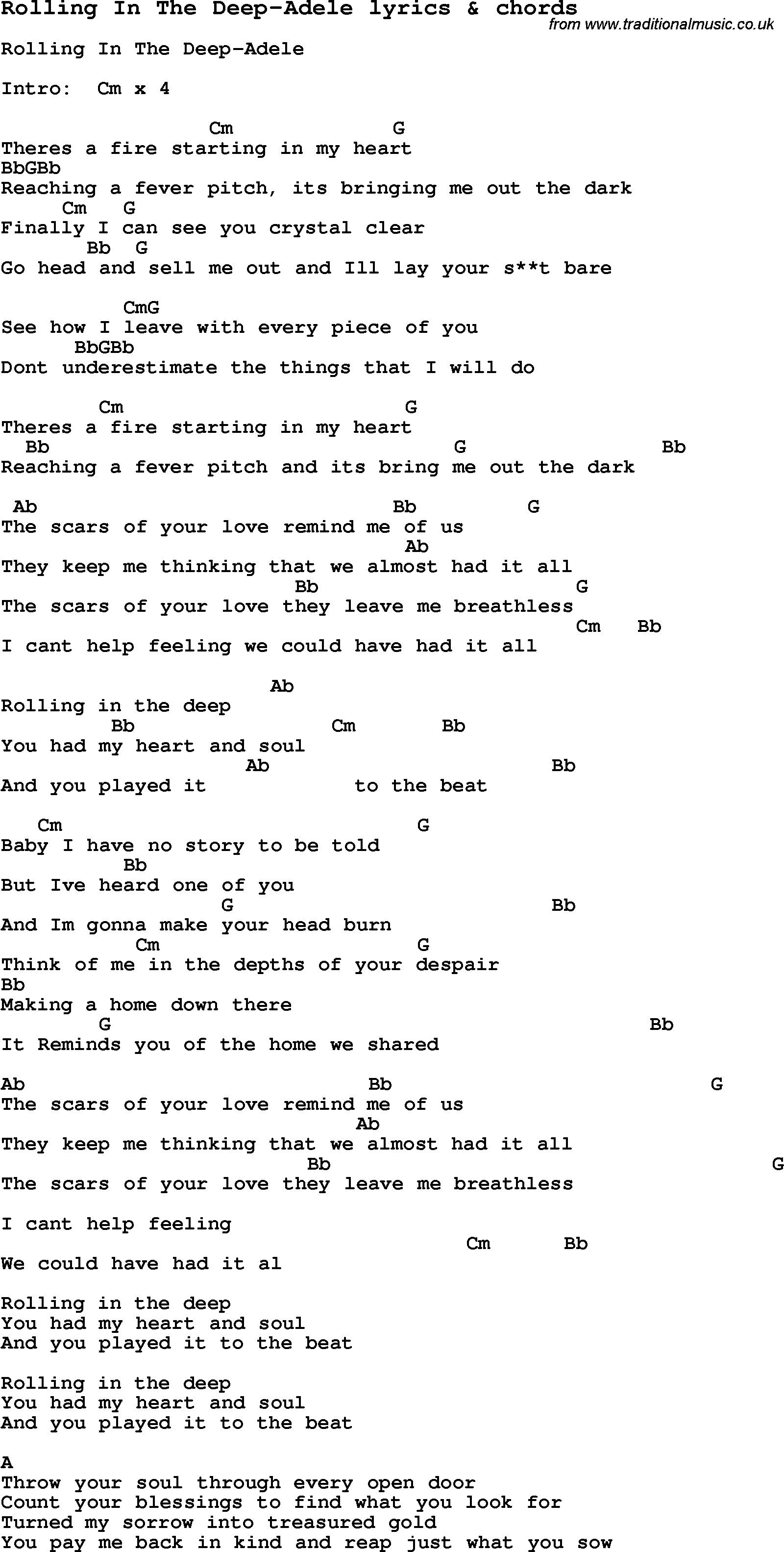 Love Song Lyrics for: Rolling In The Deep-Adele with chords