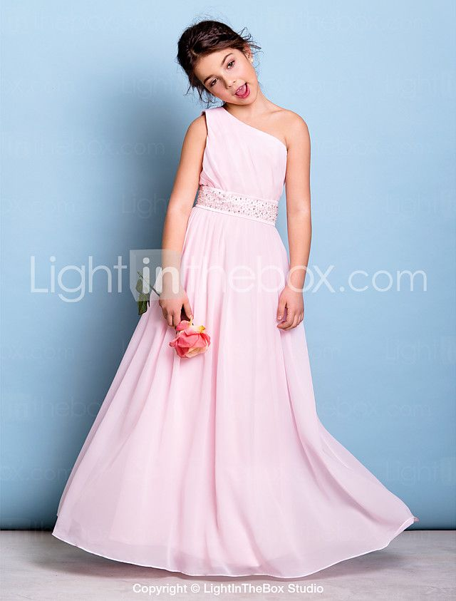 A-Line One Shoulder Floor Length Chiffon Junior Bridesmaid Dress ...