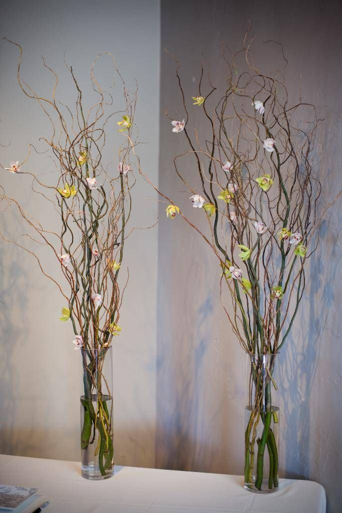 White Green And Navy Curly Willow With Orchids 2 Brocade Designs Nashville Wedding Fl Twig Wedding Centerpieces Hanging Flowers Wedding Wedding Table Centres