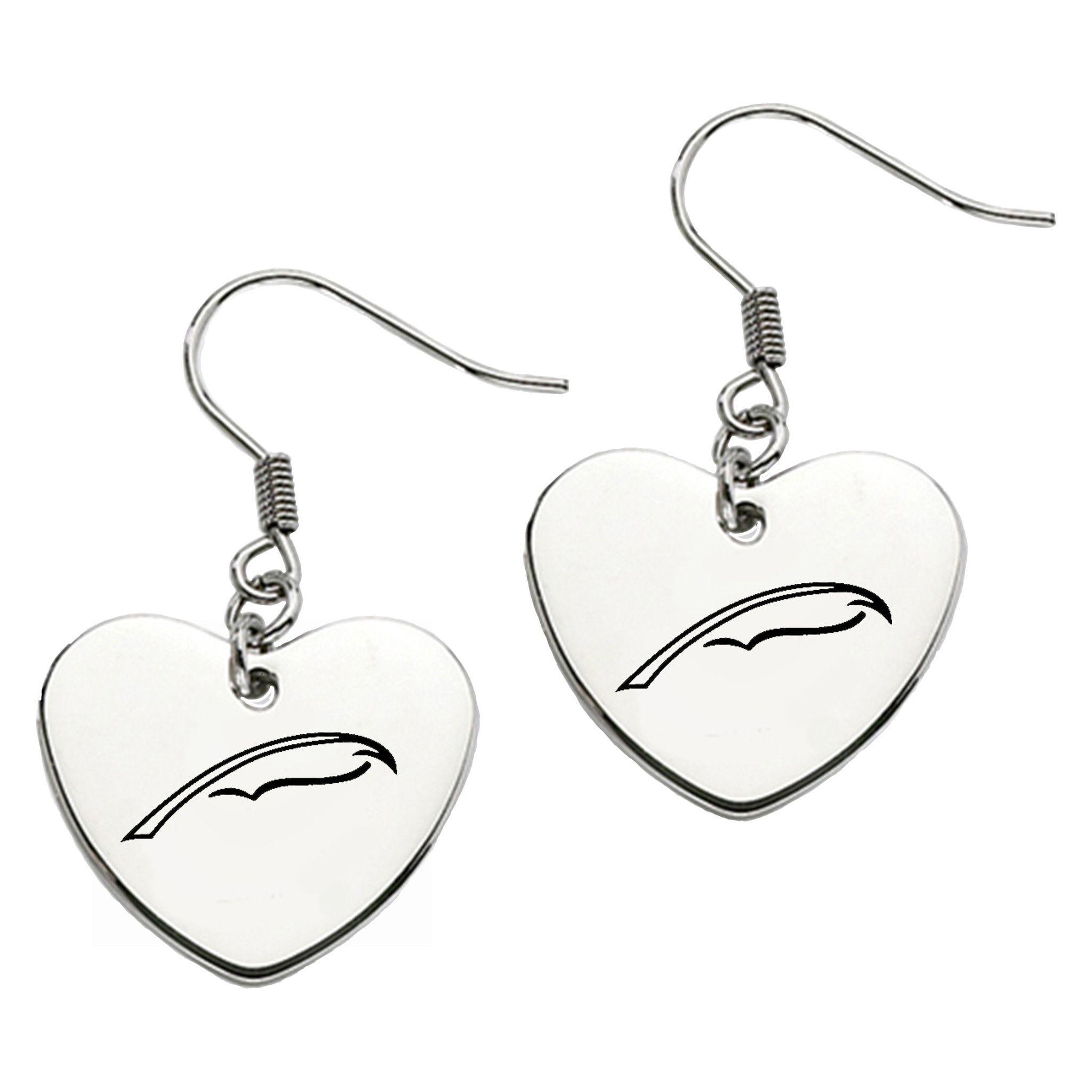 Alpha Xi Delta Symbol Heart Shape Drop Earrings