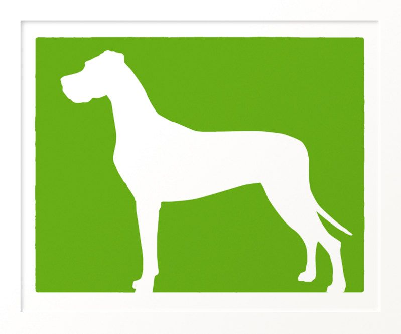 Mod Great Dane Silhouette Natural Ears 11x13 Great Dane