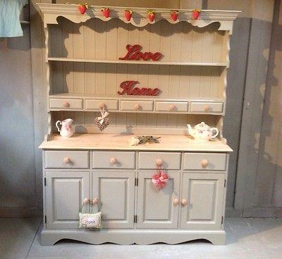 Large Shabby Chic Farmhouse Pine Welsh Dresser Farrow Ball French Gray Ebay