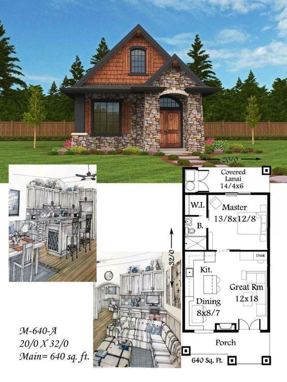small homes design. Mark Stewart Home Design Plan  M 640 A Montana 640sq ft