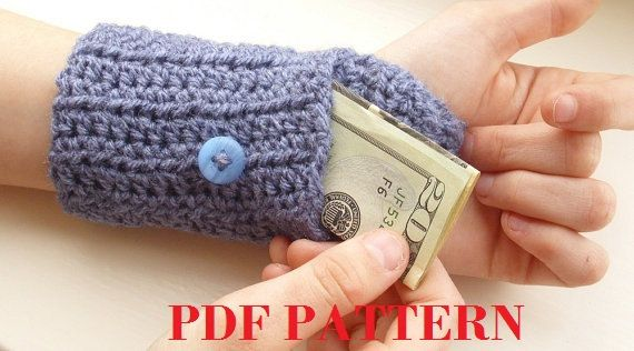 PDF PATTERN - Handsfree Wallet - Crochet Wristlet Arm Purse - Arm ...