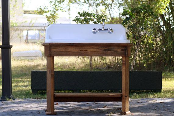 Refinished High Back Drainboard Cast Iron Porcelain Sink Reclaimed Wood Long Leaf Pine Stand For Laundry Room New House Bathroom Farmhouse