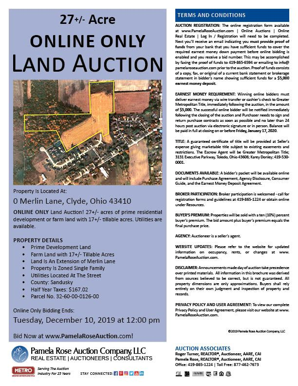 27 Acres Of Prime Development Land Online Auction 0 Merlin Lane Clyde Ohio 43410 Bidding Ends Tuesday Land Auction Development Land Online Auctions