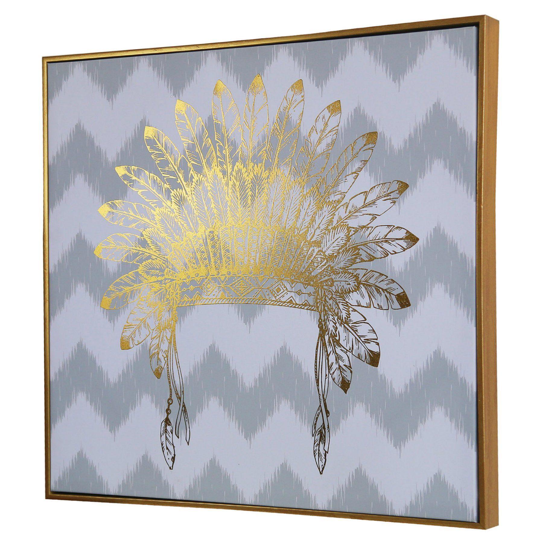 Cdi International Furniture Gold Foil Large War Bonnet Wall Art