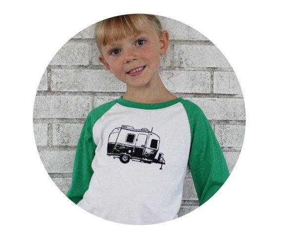 Kids Camping Shirt Kid's Baseball Tee Raglan by CausticThreads