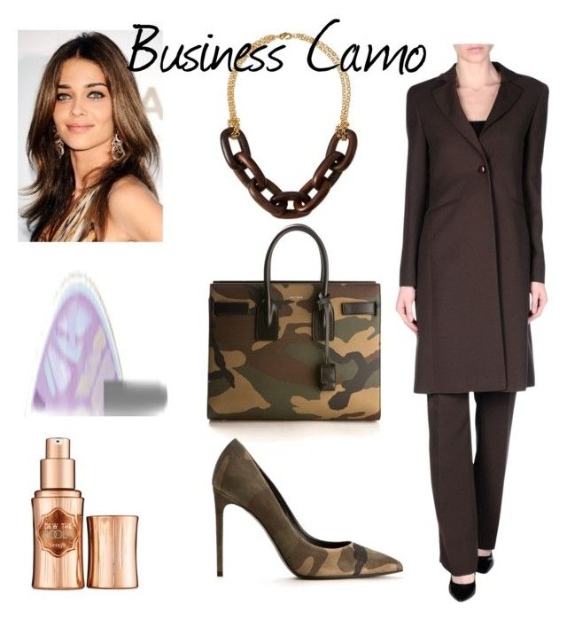 """Business Camo"" by lgreenst on Polyvore featuring Yves Saint Laurent, Benefit, tarte, Kenneth Jay Lane and camostyle"