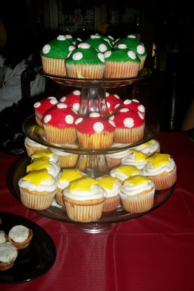 (( Super Mario Birthday )) #Cupcakes we had Made for Our son & Daughters #SuperMario Birthday Parties. #Mushrooms & #SuperMarioStars