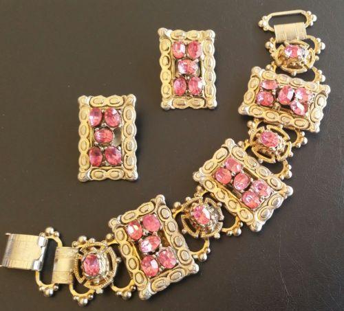 Vintage-SET-Bracelet-Earrings-Pink-Glass-Rhinestone-Art-Nouveau-Gold-Tone-4168