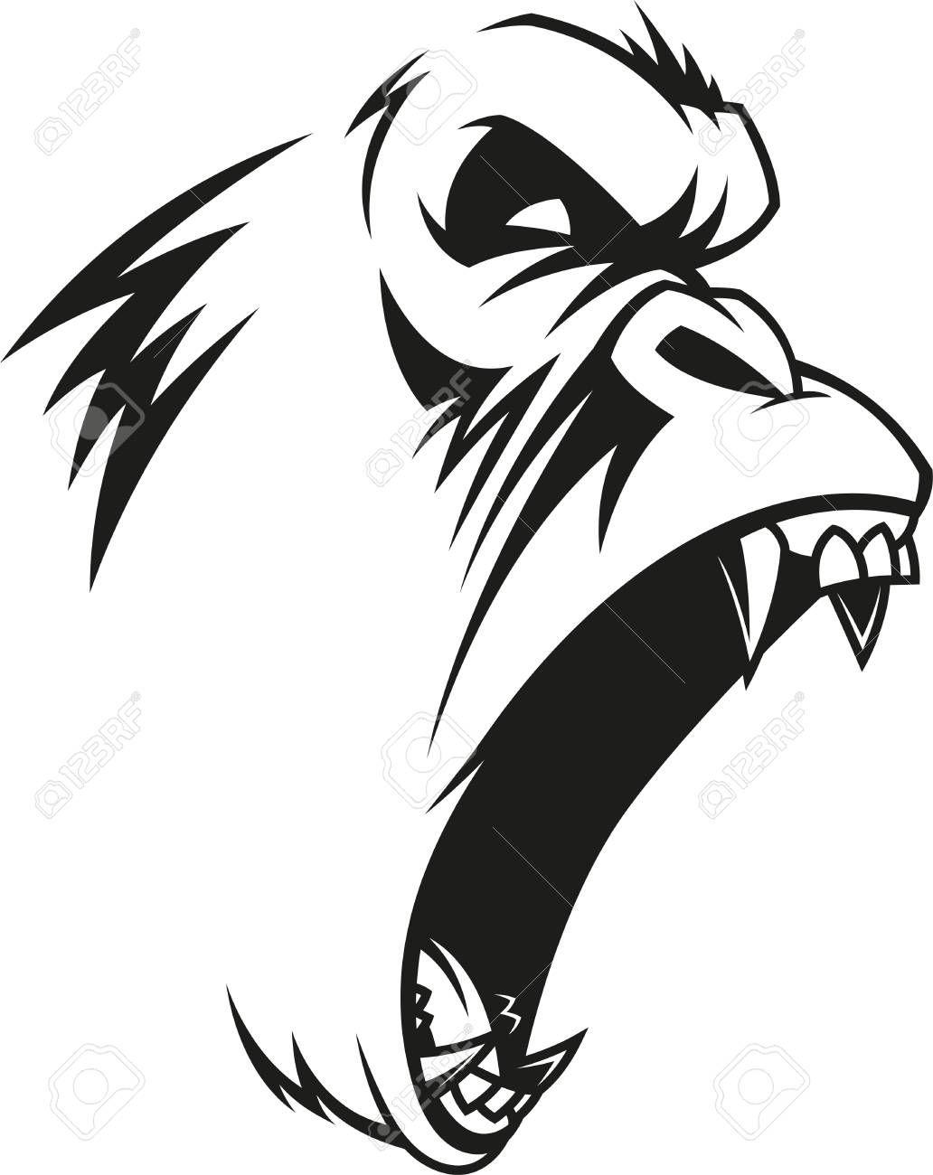 Vector Illustration Label Of A Fierce Gorilla Outline On A Gorillas Art Gorilla Tattoo Monkey Art