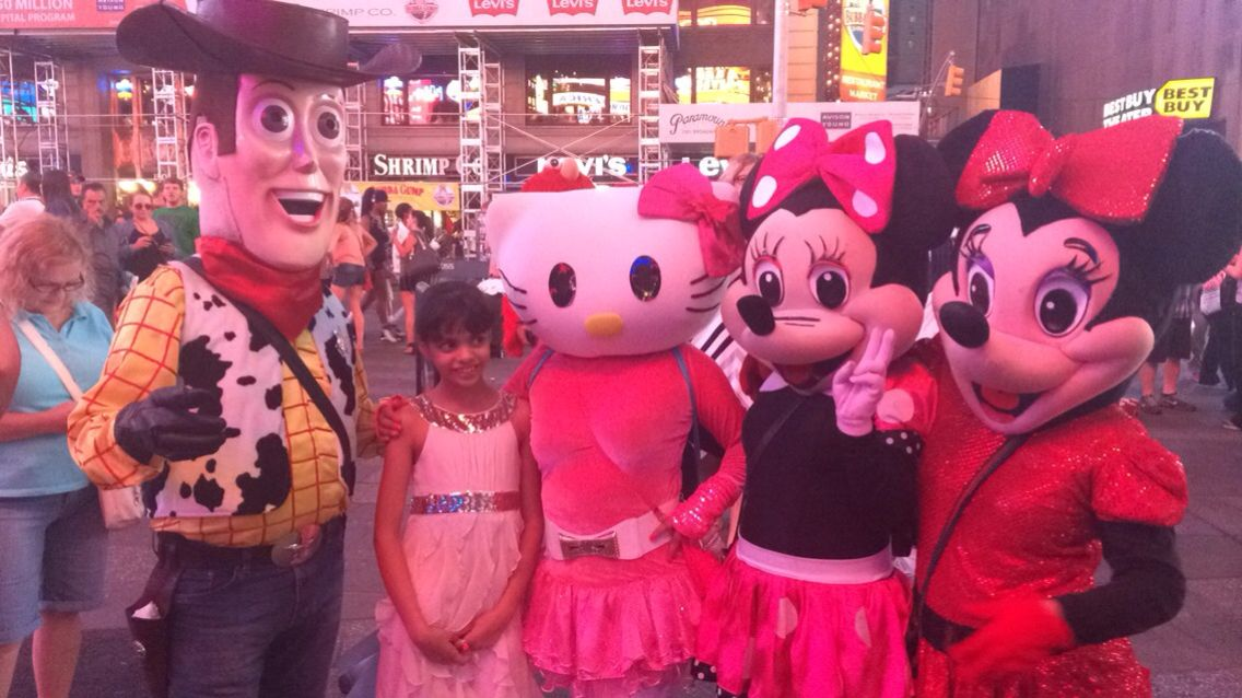 cartoon characters crowding times square and getting maximum