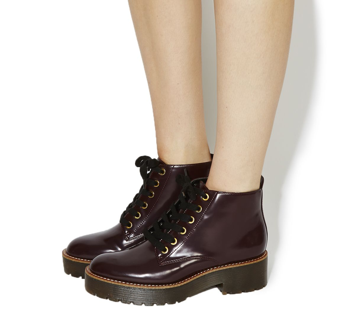 Office Iona Chunky Lace Up Ankle Boots Burgundy Box