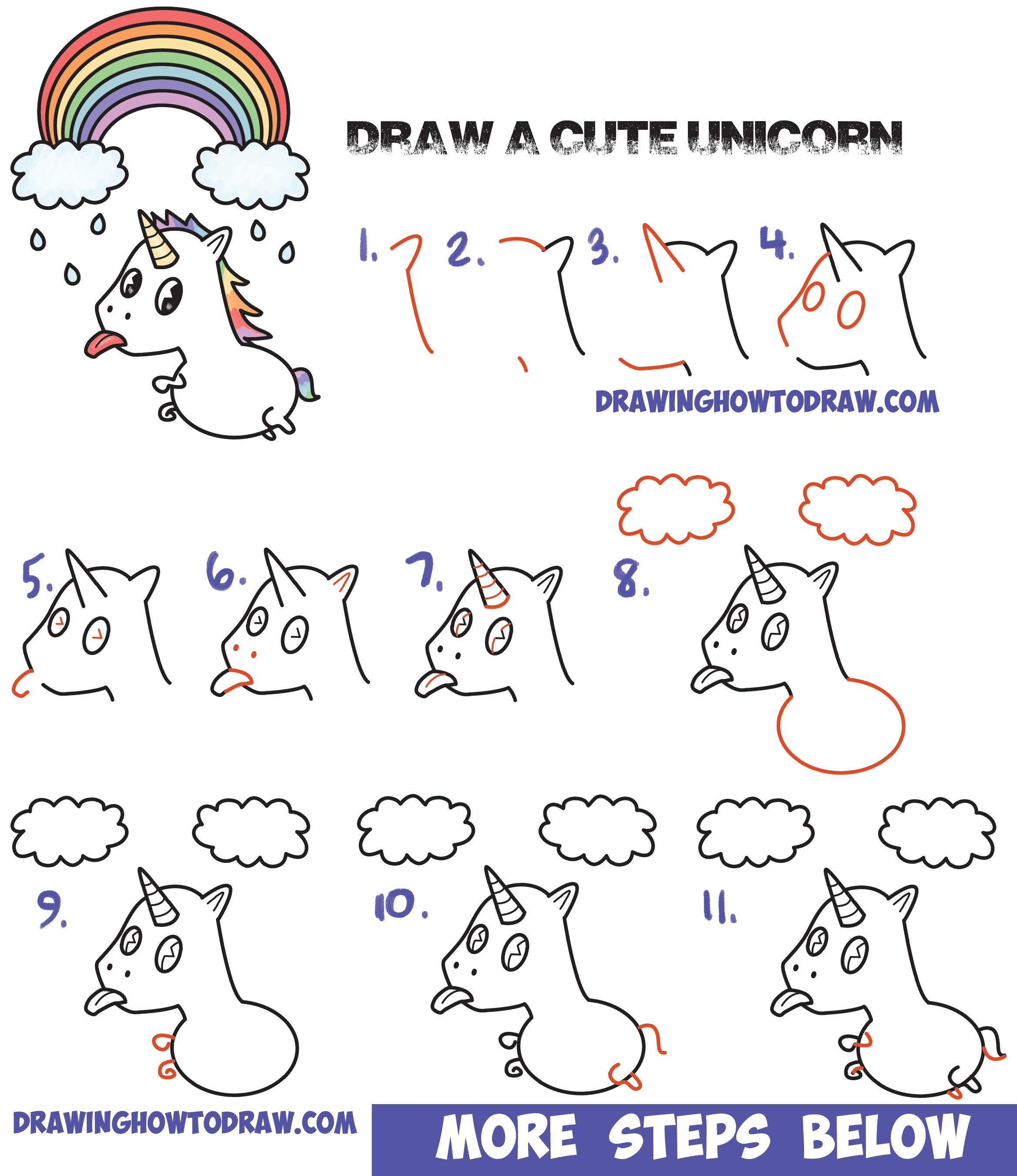 How To Draw A Cute Kawaii Unicorn With Tongue Out Under Rainbow Easy