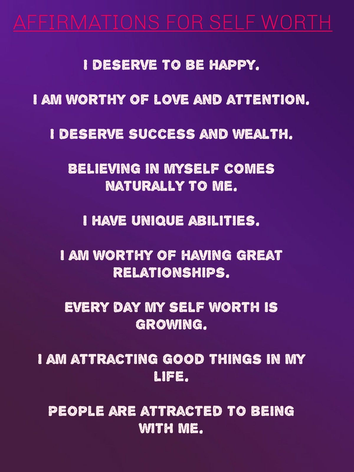 Affirmations For Self Worth In