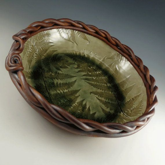 Decorative Ceramic Bowl Large Pottery Serving Bowl  Decorative Ceramic Bowl  Fossil Fern