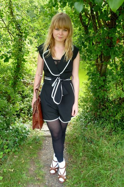c2492cb449 White ankle socks on black opac tights with wedge sandals, black and white  dress