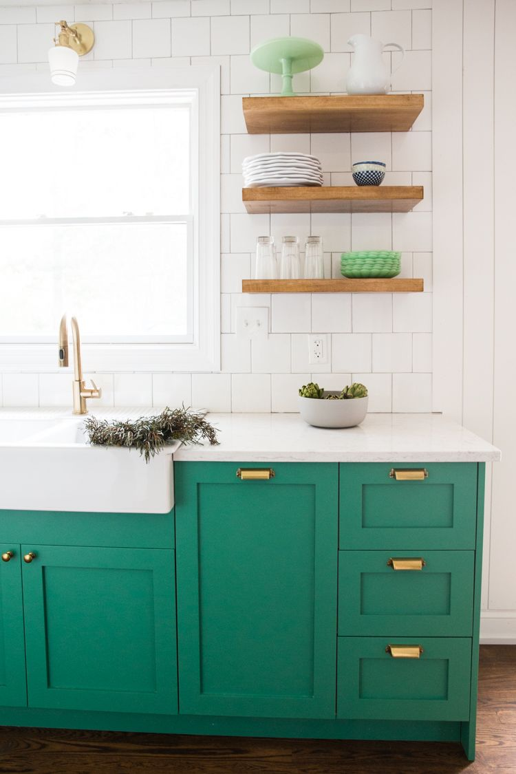 Bold, Small Kitchen with Green Cabinets and Slate Appliances ...