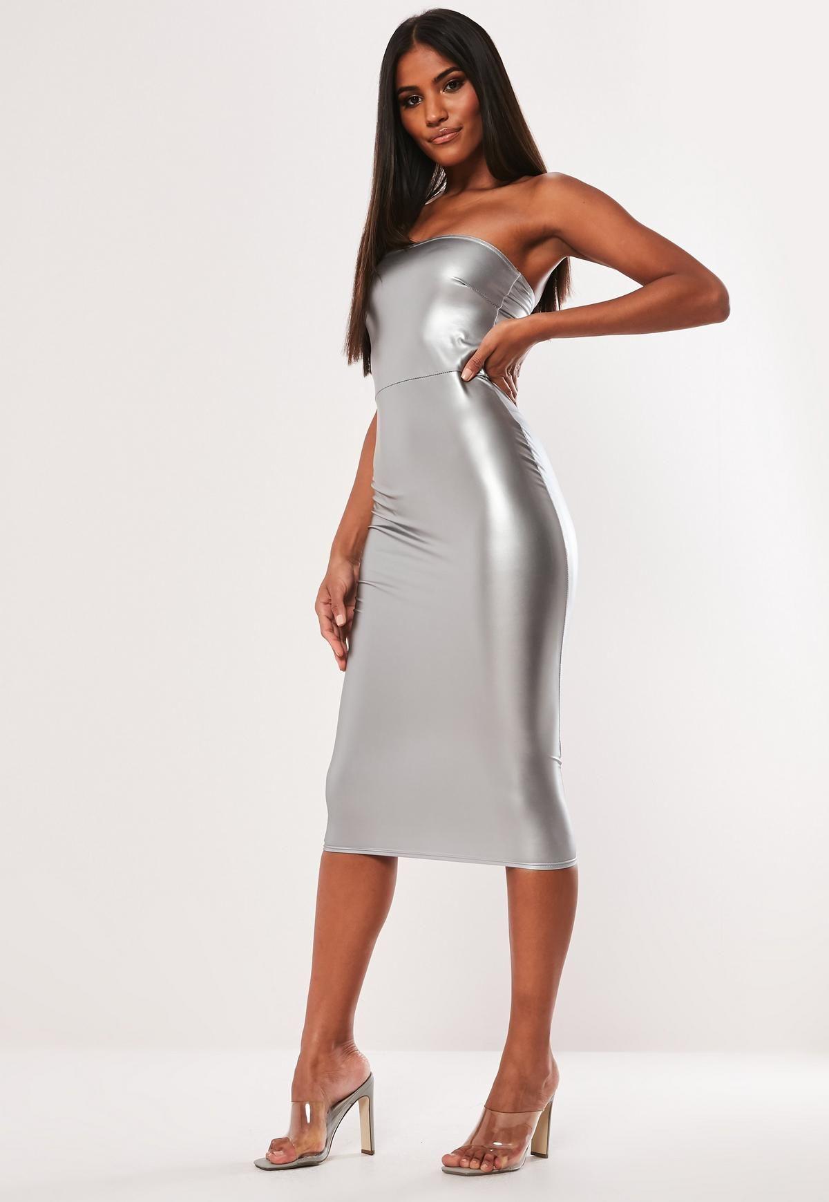 Silver Faux Leather Bandeau Bodycon Midi Dress Missguided Silver Dress Outfit Women Dress Online Midi Dress Bodycon [ 1739 x 1200 Pixel ]