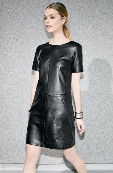Halogen® Leather & Ponte Knit Shift Dress (Regular & Petite)   Nordstrom