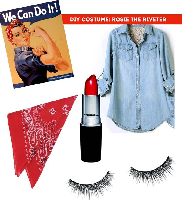Simple and fun Rosie the Riveter halloween costume - flex those