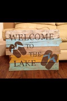 Rustic Lake Sign Made From Reclaimed Wood Interior Design Advice Lake Signs Shop Decoration