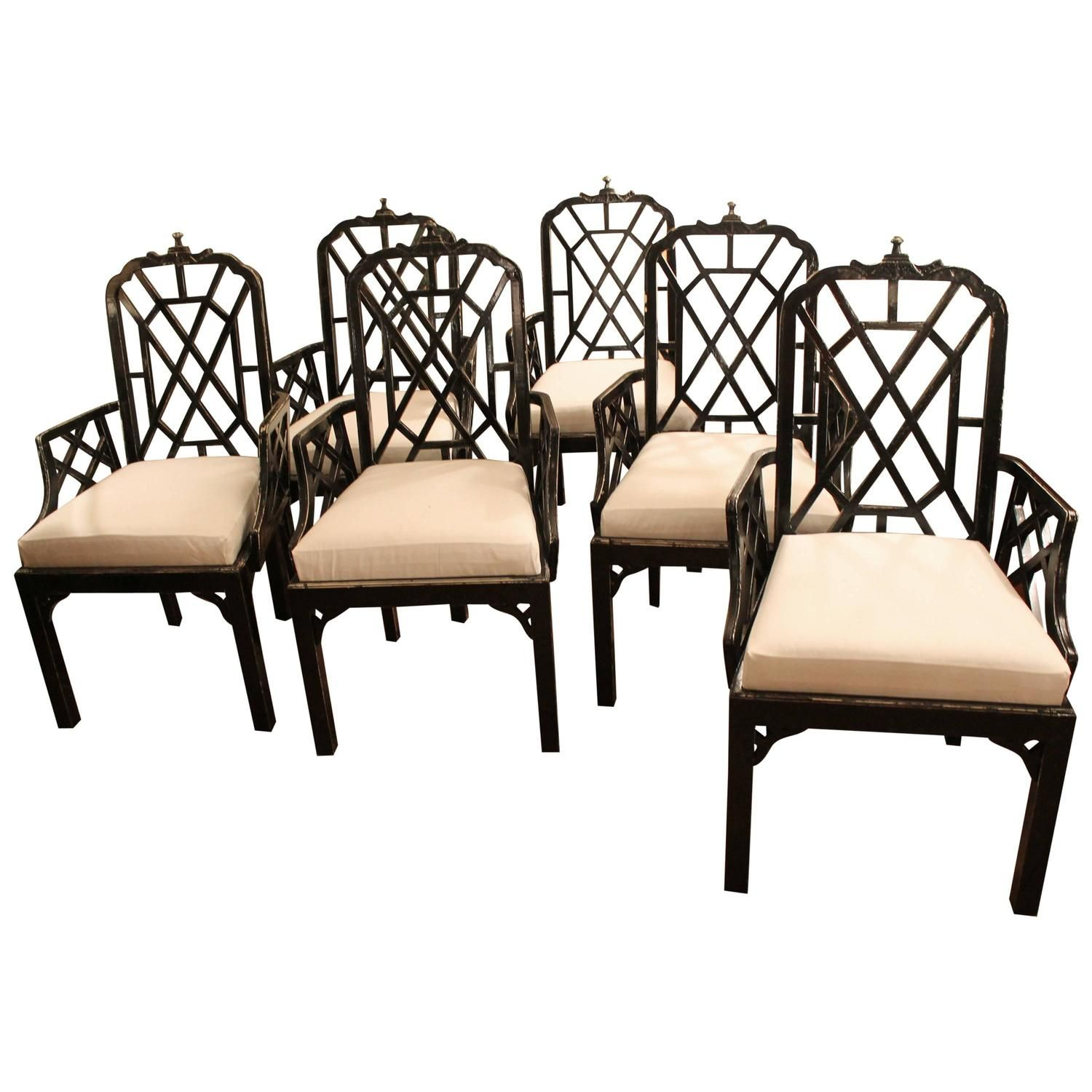 Set Of Six Or 10 Chinese Chippendale Dining Arm Chairs Pagoda Unique Chippendale Dining Room Set Design Ideas