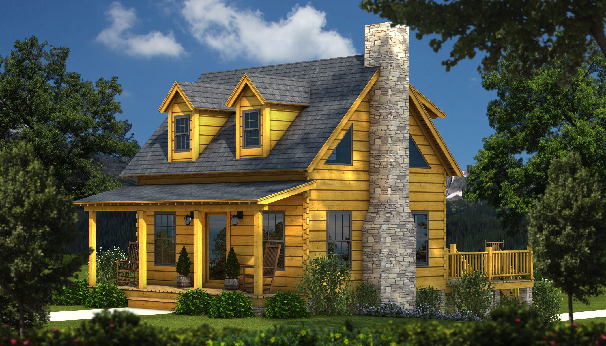 "Tiny Log Home Designs: ""The Auburn, A Small Log Cabin Plan"" Is One Of The Many"