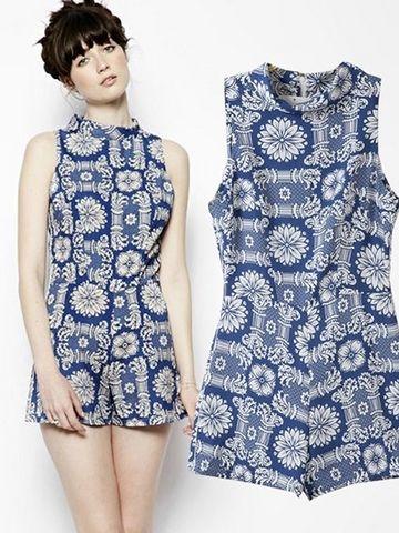 Best Sell Stand Collar Sleeveless High Waist Jumpsuits For Women