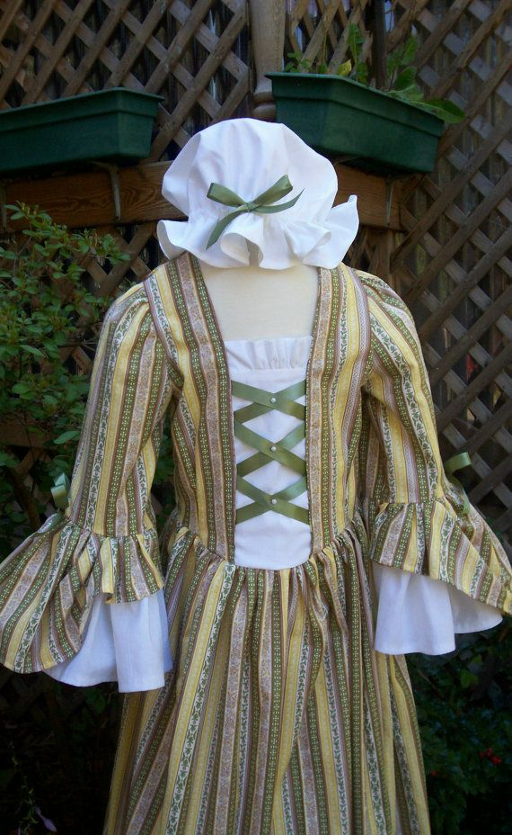 Girls Colonial Dress No Lace With Double Flounce At