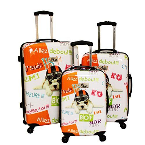 Chariot 3 Piece Hardside Lightweight Upright Spinner Luggage Set Fly Dog One Size >>> To view further for this item, visit the image link.