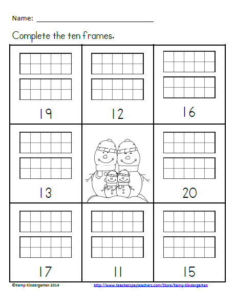 Winter Ten Frames No Prep Printables Freebie Quantities Of 11 20 Freebie Winter Wintermath Free Math Resources Kindergarten Math First Grade Math